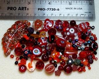 BEAD SOUP - Destash - Glass & Crystal - reds - variety - beads PG909