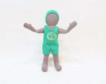 """Brown 7"""" Pocket doll, green frog outfit, Eco-friendly doll, gender neutral, hemp and wool doll, handmade doll, stocking stuffer size doll"""