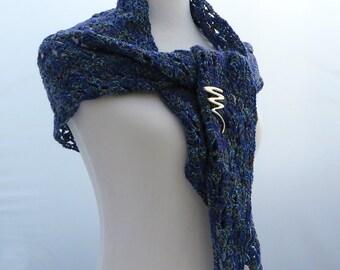 Hand crochet blue purple shawl