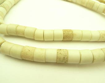 "28"" strand white 'goomba' glass flat ended trade beads tribal old Africa AB-0009"