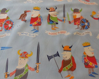 Private Listing for Tracy The Vikings Deleon Design Group- Blue + Tan background - Alexander Henry Fabric 1/2 Yard Each