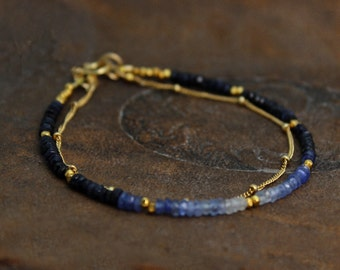 Ombre Beaded Bracelet. Double Layer Bracelet. Sapphire Bracelet. Also in Emerald or Ruby, Gold or Silver. B-2193-7