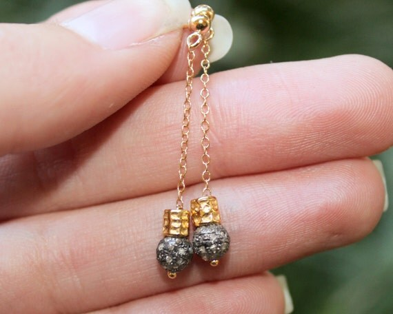 Pave Diamond Post Earrings. Black Diamond Stud Earrings. Diamond Jewelry in Gold Filled or Sterling Silver. E-2205