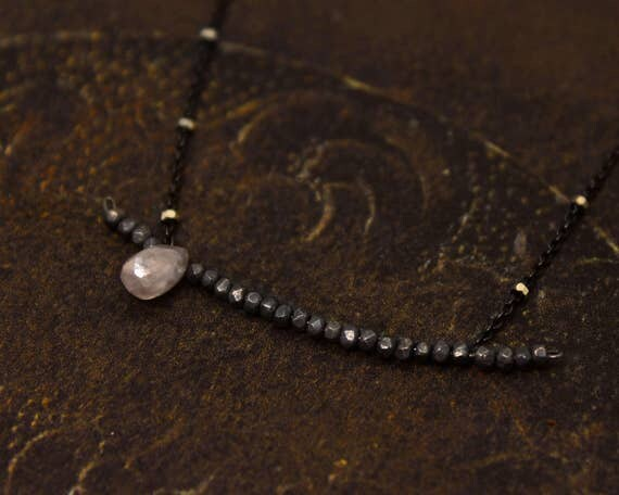 Bar Necklace. Silverite Teardrop Necklace. Black Silver Necklace. Delicate Necklace in Black, Silver or Gold. N2347
