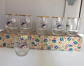 Vintage floral shot glasses