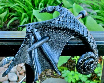 Black Leather Dragon Stick Barrette, Handcrafted Medium Silvery Black Wyvern, Metallic Amphiptere Hair Stick/Slide  (Medium) (B255M)