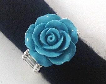 Turquoise Rose Ring, Stretch Ring, Statement Ring, Large Ring, Silver Ring, Flower Ring