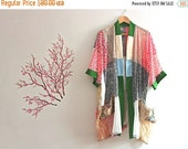HUGE New Year Sale Upcycled Lace Patchwork Kimono Embroidered Pockets Bohemian Romantic Cardigan Recycled Clothing Size Large Extra Large XL