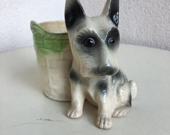 Vintage Ceramic mini vase Scotty Dog theme Made in Japan
