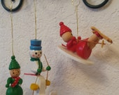 Vintage wood ornaments skiing partners cute Christmas tree decor FREE shipping USA