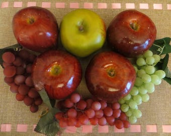Artificial Fruits,Fake,Faux,Red,Green,Speckled Apples,Grapes,Tabletop,Basket,Bowl filler,Kitchen Decor,Dining,8 PIECE