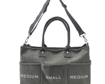 New Canvas Messenger and Tote Bag(Khaki Gray)