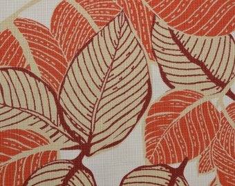 Outdoor Fabric, Leaf Fabric, Upholstery Fabric Remnant, Orange Fabric, Wide Fabric, Heavy Fabric - 3 Pieces - UF2112