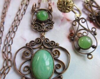 Vintage Deco 1930s Green Art Green Art Glass Set