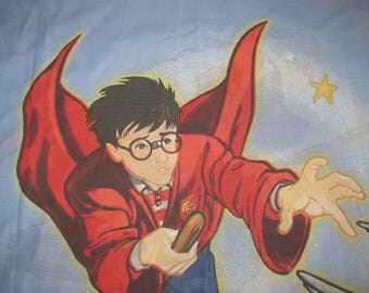 Vintage Harry Potter Twin/Standard Pillow Case - Blue with Harry in Quiddich Robes, Chasing Golden Snitch - Cotton Pillowcase
