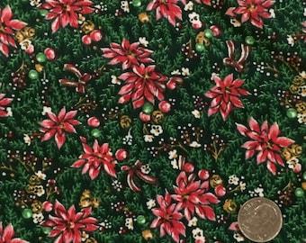 Christmas Fabric / Floral Christmas Fabric / Cotton Fabric / Hallmark Cards Inc