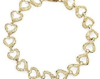 10k Yellow Gold Diamond Cut Heart Bracelet