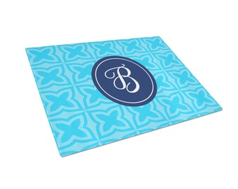 Personalized Cutting Board  - Personalized Glass Cutting Board Blue Trellis