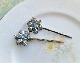 Repurposed/Upcycled Vintage Pale Light Blue Rhinestone Flower Star Bobby Pins / Hair Pins / Hair Accessory / OOAK Art