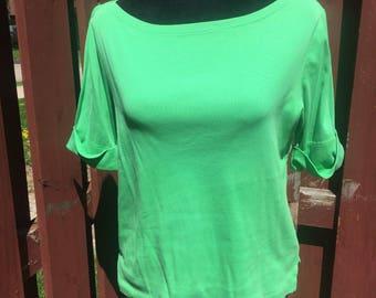 Vintage Green Short Sleeved Ralph Lauren Cotton T Shirt Size Large