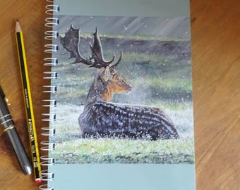 Stag in a Meadow -  A5 Notebook - Morning's Kiss - 80 pages lined writing paper notebook  with a laminated original stag art cover