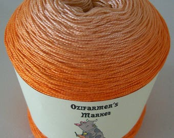 Cherish.  Gradient hand-dyed  orange laceweight cotton. 100gm. Tangerine