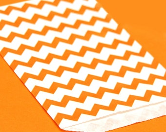 Orange Chevron Print Paper Bags