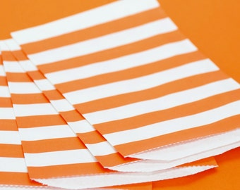 Orange Wide Stripe Paper Bags