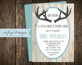 Oh Deer! A little Buck is almost Here! | Rustic Baby Boy Shower Invitation | Barn Board and Antler | Printable file.