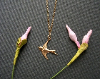 Almost Spring Sale 14K Gold Filled Bird Necklace Womans Delicate Tiny Whisper Necklace Sparrow Simple Style Light Genuine Gold Filled Chain