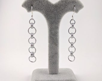 Fun dangle silver chainmail earrings