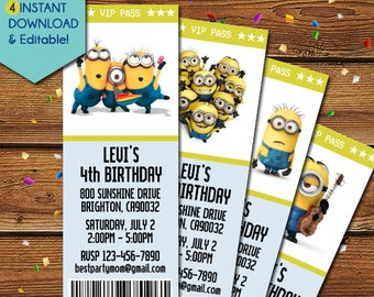 Minion Invitation, Minions Invitation, Minion Birthday Invitation, Minions Birthday Invitation, Minions Party Invite, Minions Invite