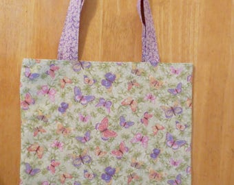 Cotton Grocery Tote, Lavender Butterfly