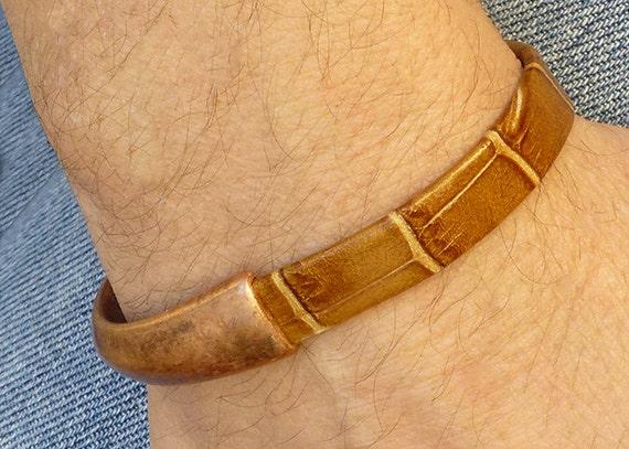 mens copper bracelet mens brown leather bracelet copper. Black Bedroom Furniture Sets. Home Design Ideas