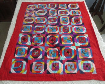 Quilt, Coverlet or Wall Hanging Rare Vintage 3D Chinese Folk Art with Appliques and Embroidery Two Sided Lucky Animals 1970's to 1980's