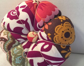 Flower Pin Cushion in Peach and Pink