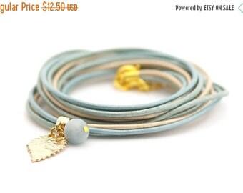 Mothers Day Aquamarine Bracelet, Metallic Blue Wrap Bracelet, Golden Blue Bracelet, Minimalist Jewelry, gift for her boho chic