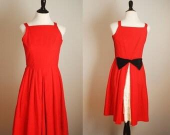 SALE 40% OFF 1950s dress | vintage 50s red party dress