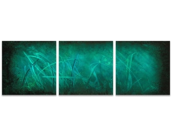 Aqua Metal Art 'Ocean Mist Triptych' by Nicholas Yust - Modern Wall Decor Abstract Painting Print on Metal or Acrylic