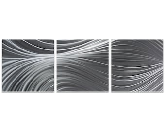 Flowing Metal Art 'Passing Currents Triptych Large' by Nicholas Yust - Modern Wall Decor Minimalist Artwork on Metal or Acrylic