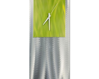 Modern Clock 'Yellow Studio Clock' by Nate Halley - Metal Wall Decor Funky Art Clock on Ground and Colored Aluminum