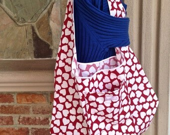 Large Folding Market Bag, Unlined Grocery Bag, Lightweight Shopping Bag, Cotton Fabric Just-in-Case Bag, Hearts Project Bag