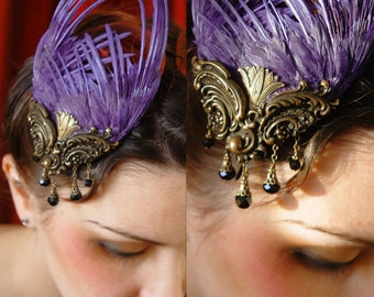 Amethyst purple spiked bird wing hair fascinator hat with antique jet bead droplets ~ Steampunk Fairytale ~ Victorian ~ Alice in Wonderland