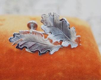 "Vintage Sterling Silver Earrings - Embossed Floral Leaf Motif - Traditional Bridal Wedding Formal - Non Pierced Screw Back - 1"" x 1/2"""