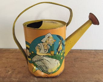 Vintage Metal Yellow Watering Can Dutch Tulips
