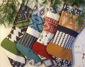 Quilted Christmas Stockings  Set of 4, Aztec Collection, Personalized, Modern, Tribal, Green, Mustard, Teal, Red, Handmade, Black, Quilted