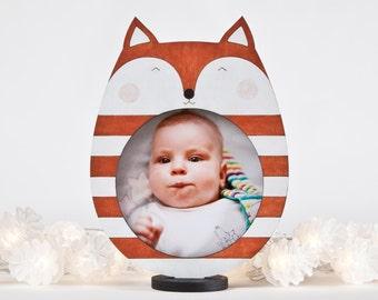 Orange Picture Frame, Baby Shower Gift, Fox Photo Frame, Orange Nursery Decor, Newborn Gift, Children Picture Frame, Funny Baby Gift