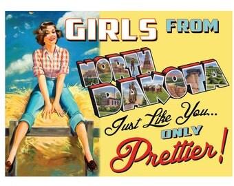 North Dakota Pin Up Girl Print Girls from North Dakota