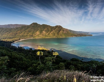 Aerial scenic view of Kahana Bay as seen from the Crouching Lion hiking trail in Kaaawa, Oahu, Hawaii