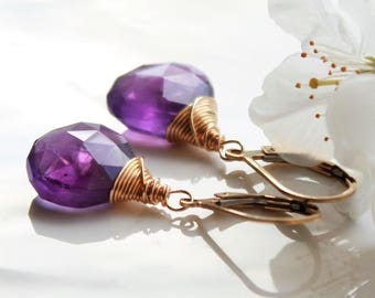 Amethyst Earrings, Gold filled wire wrap, purple gemstone, February birthstone, holiday gift for her, boho chic earrings, artisan earrings